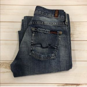 7 For All Mankind Distressed Blingy Flare Jeans